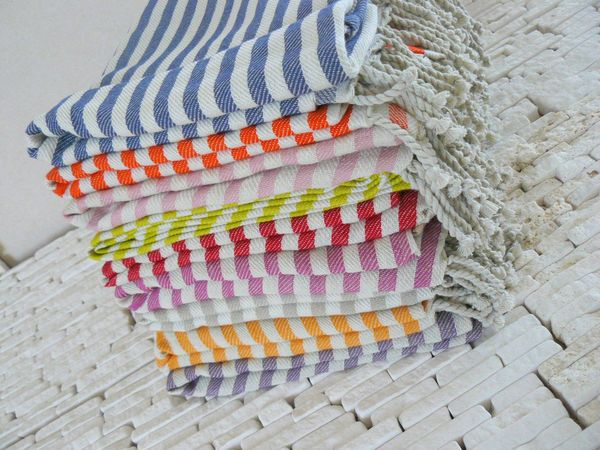 Handwoven Turkish bath towels.  Do they ever look fresh and cozy...