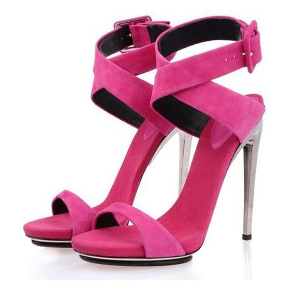 POSH GIRL Fuchsia Suede Ankle Wrap Sandals ($118) ❤ liked on Polyvore