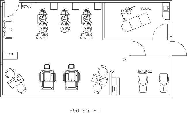 Salon Floor Plan Design Layout - 696 Square Feet