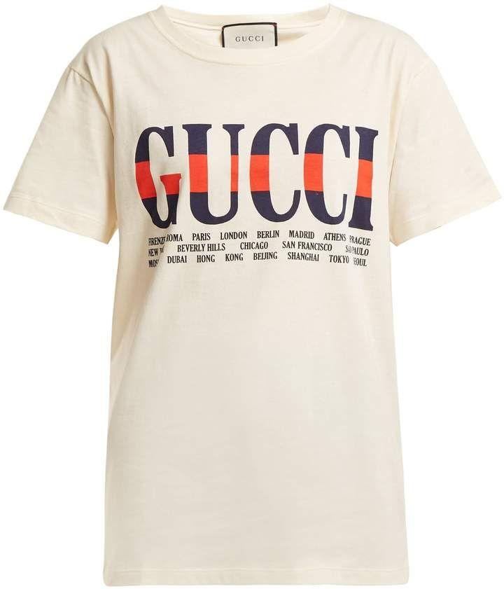 4c60d2068 GUCCI Logo-print cotton T-shirt | GUCCI gang | Printed cotton, Gucci ...