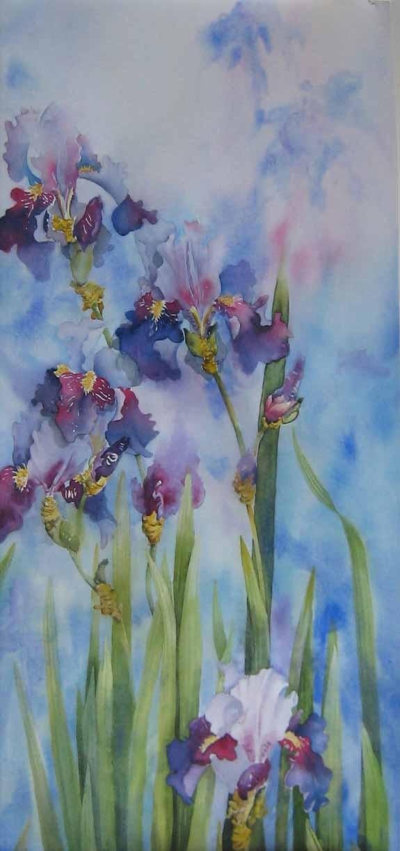 Louise Guertin - Iris et moi. Watercolor
