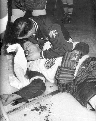An injured Gordie Howe | Detroit Red Wings | NHL | Hockey