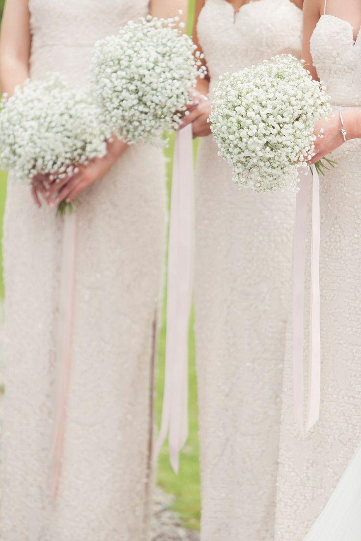 Baby Breath Gyp Gypsophila Bouquets Flowers Ribbons Bridesmaids Romantic Metallic Blush Wedding www.craigsandersp...