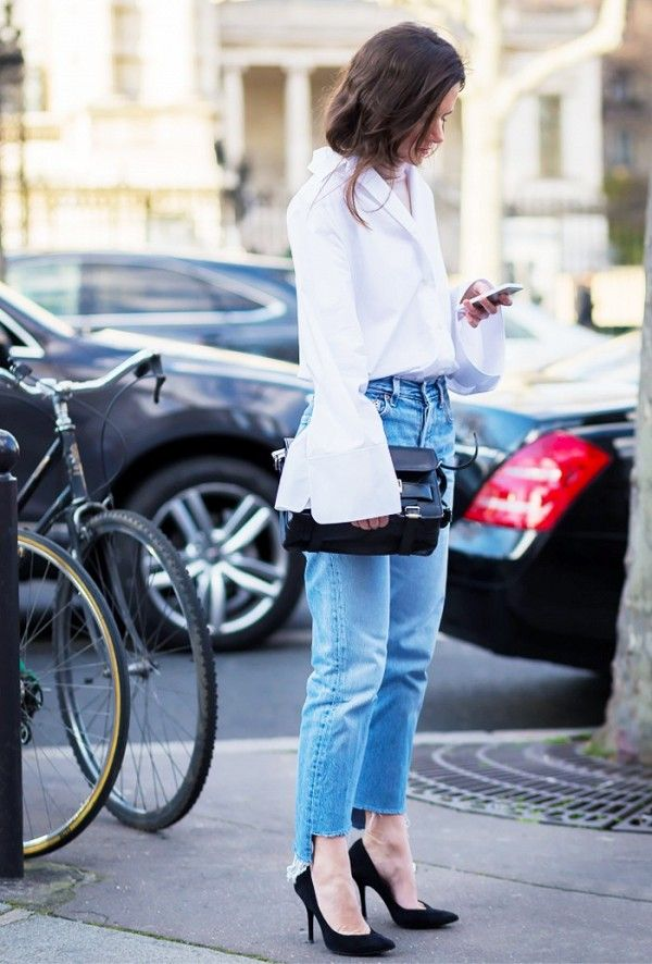 White button-down bell sleeves.
