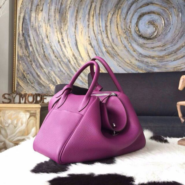 Hurry Up!2015 Hermes Small Leather Goods Outlet With Free Shipping-Hermes Mini Lindy Bag 26CM in Anemone Purple Clemence Leather