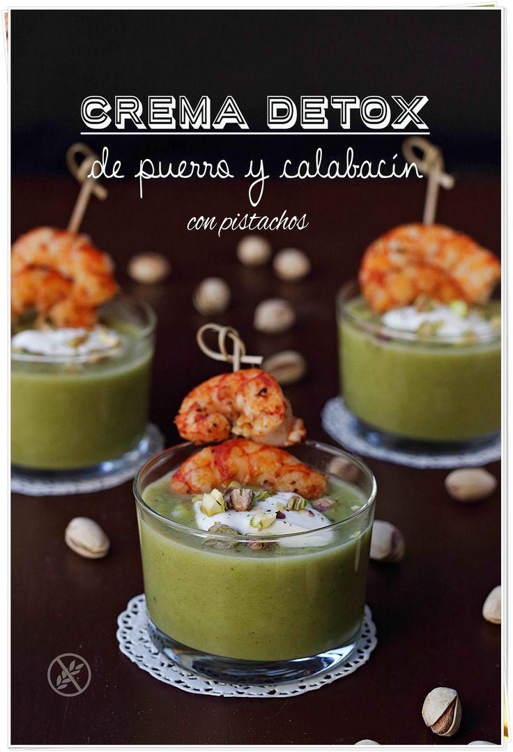 Crema detox de puerro y calabacín con pistachos {by Paula, Con las Zarpas en la Masa}