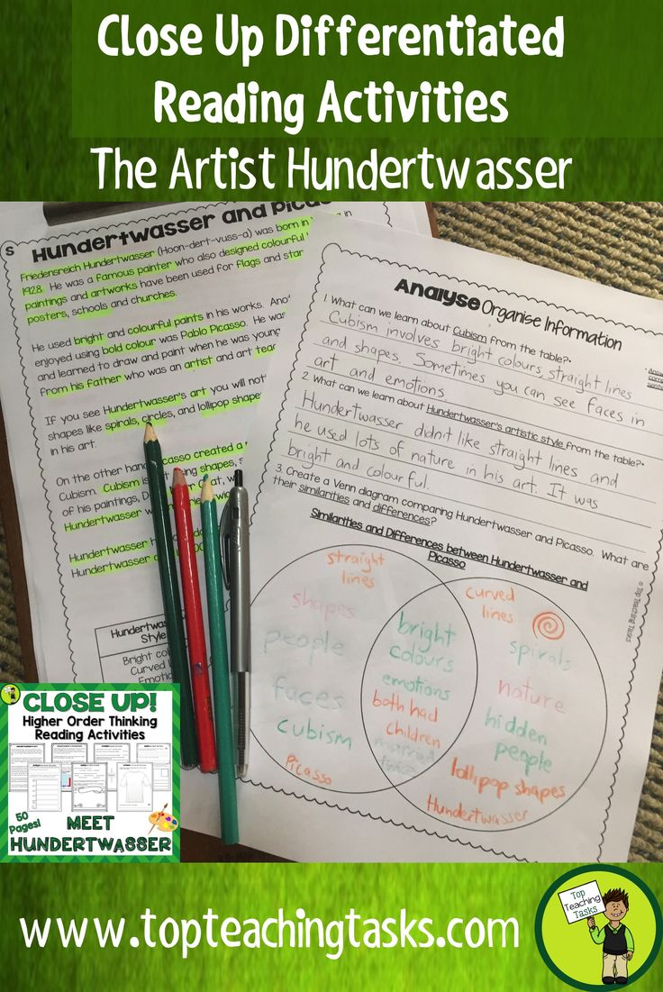 This Hundertwasser Art and Architecture differentiated reading comprehension resource includes four Grade Four (Year Five) and Grade Five (Year Six) non-fiction informational passages with six engaging text dependent higher order thinking tasks - perfect for close reading! These print and go worksheets link directly to the CCSS and New Zealand Curriculum, Level Three. These come in both US and NZ spellings and paper size.