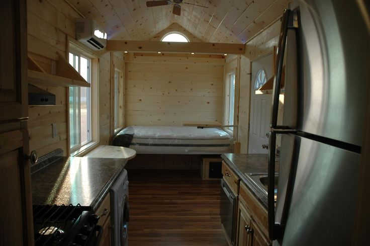 ELECTRIC BED TINY HOUSE, bed drops from loft over the ...