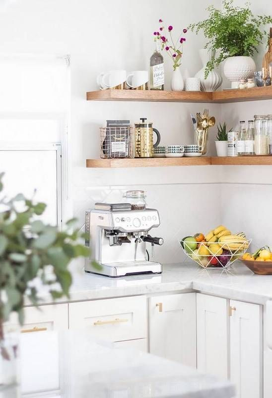 open shelving kitchen corner with open shelving