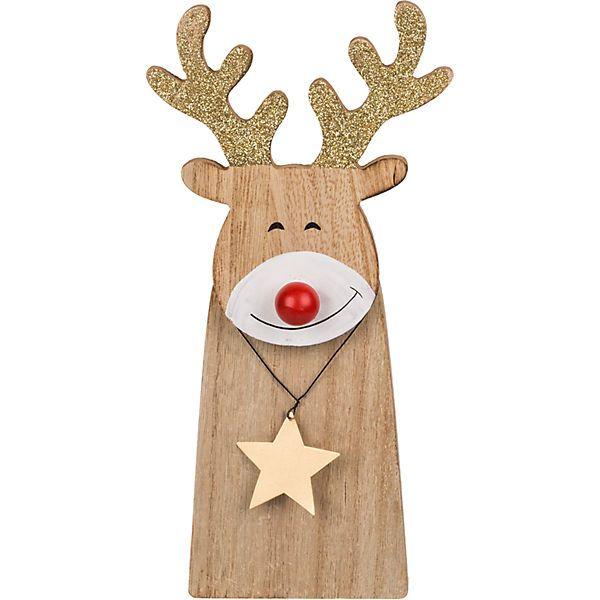 Holz Dekofigur Rentier Mit Leuchtender Roter Nase Led 19x7 Cm Rentier Holz Rentier Basteln Rentiere