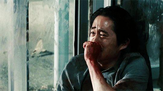 Glenn (Steven Yeun) is distraught in Episode 14 (entitled Spend) Season 5 of AMC's The Walking Dead