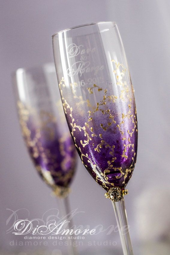 Personalized wedding champagne glasses Plum & Gold by DiAmoreDS