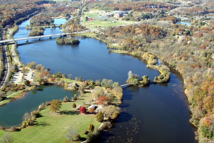 Aerial view of Gallup Park on the Huron River in Ann Arbor, Michigan