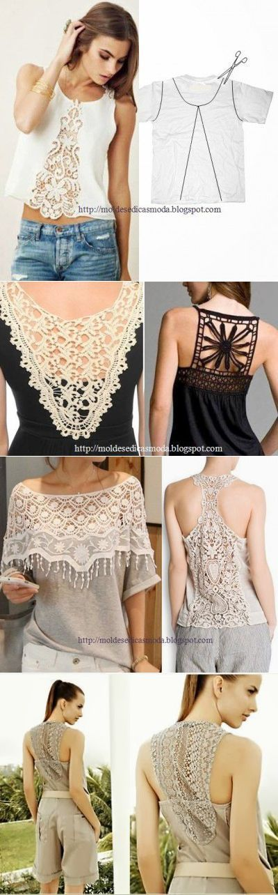 Ideas how to combine Crochet and fabric in Crochet tops and tunics