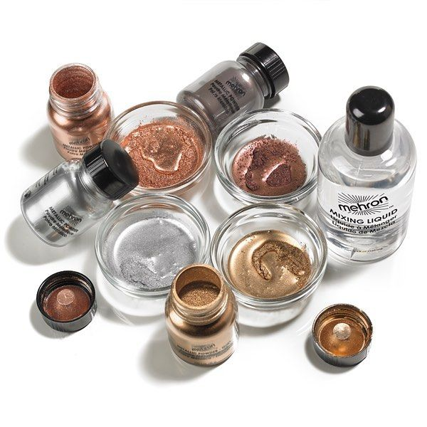 Mehron's Metallic Powder Makeup is the perfect accent for your face painting, costume makeup, character makeup or a smoldering evening look!