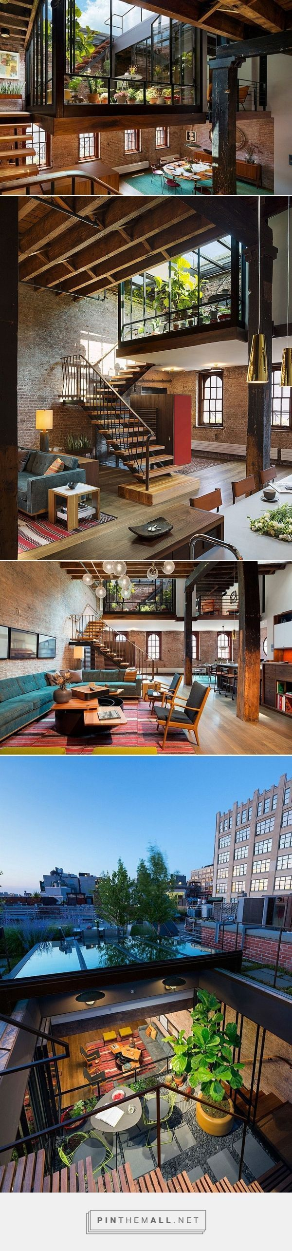 Old Caviar Warehouse Converted into a Sensational NYC Loft - garden space dropped down into the living space - created via http://pinthemall.net