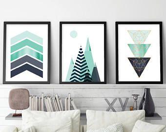 Ensemble de 3, Art imprimable, imprimer ensemble, impression scandinave, montagnes, géométrique, Art mural, Home Decor, tryptique, affiche, marine, Turquoise, estampes