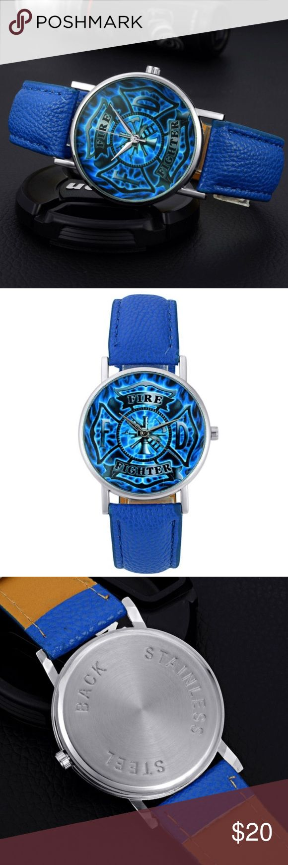 Leather Quartz Blue Firefighter Watch Dia diameter:3.5cm Band Width:2.2cm Band Length:24cm Accessories Watches