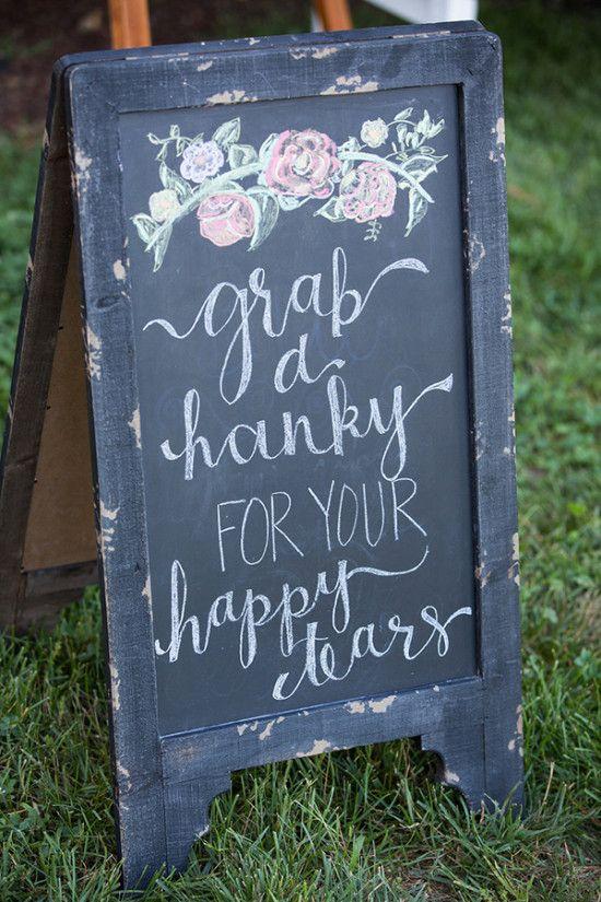 wedding hankies sign