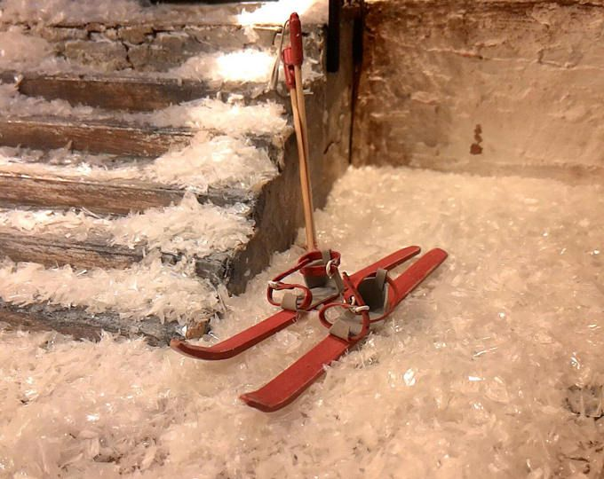 Skis with sticks for dolhouse miniatures 1:12