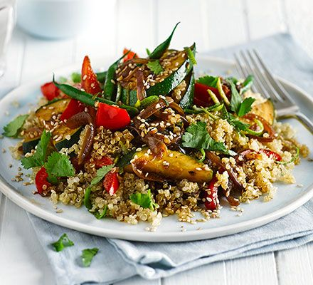 Asian quinoa stir-fry: This filling and gluten-free vegetarian dinner is full of colourful vegetables, with a tangy sauce of lime juice, garlic and tamari