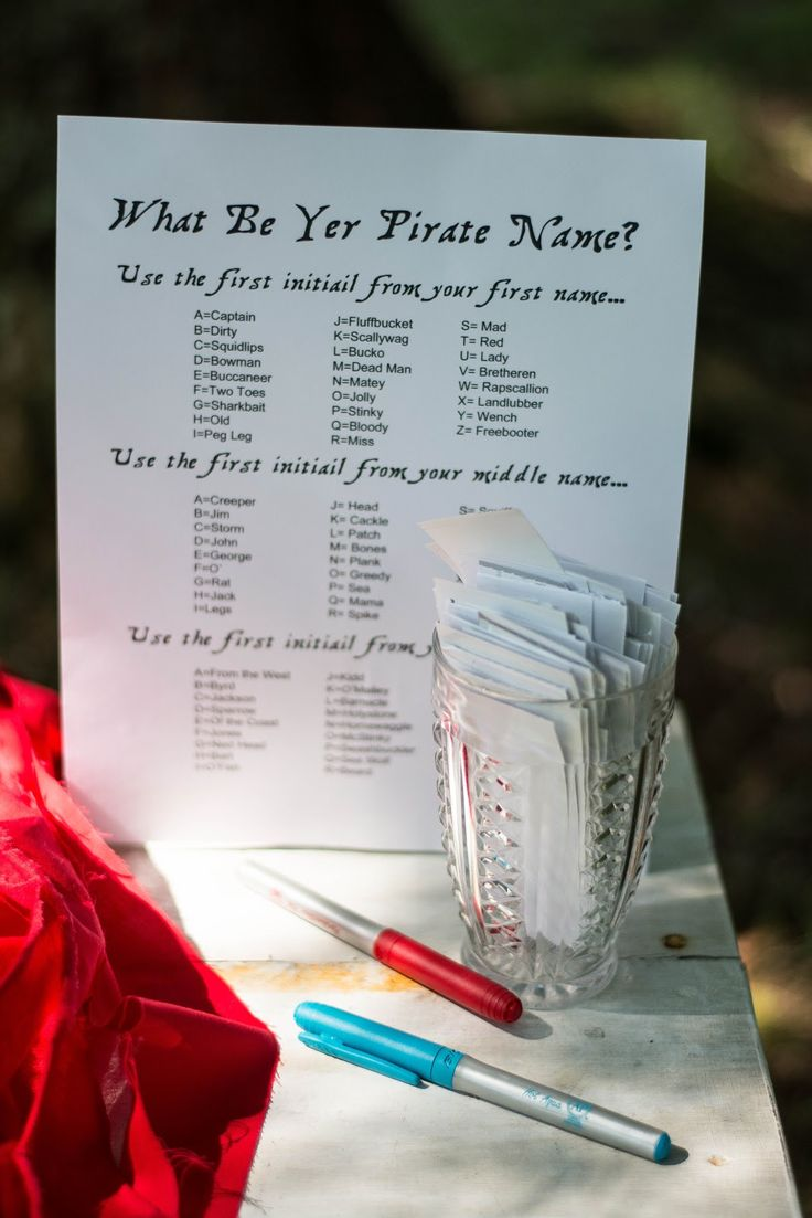 Pirate names... Change a couple up so they're completely appropriate and this could be fun! Put their pirate name on their badge at registration.