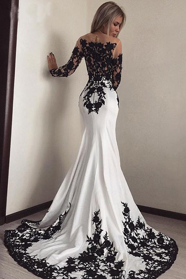 Elegant White Black Lace Appliques Mermaid Long Sleeves Satin Prom Dresses UK PH516