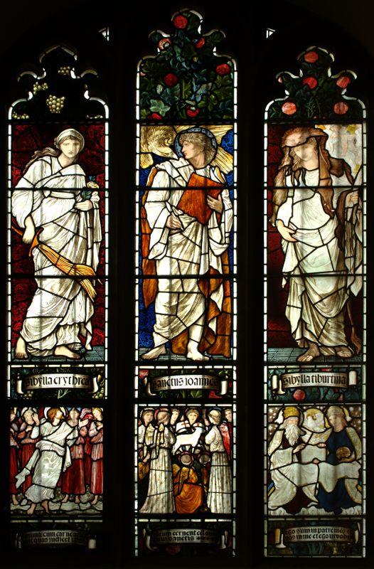 Βιτρό στην Εκκλησία Κολεγίων του Κέμπριτζ  Σχέδια Έντουαρτ Μπερν Τζόουνς , κατασκευή William Morris (1873-77)