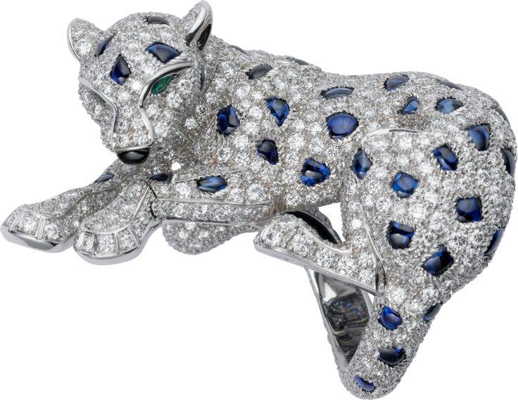 Panthère de Cartier ring Platinum, emeralds, sapphire, diamonds