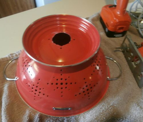 Make your own colander pendant light, or buy one!  Check them out at MomsWoodworking.com!
