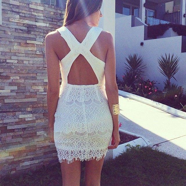 white x-back lace dress. zazumi.com