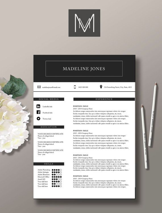 us letter resume and cover letter jones by studiomtemplates - Cover Letter Of A Resume