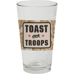 Shiner Toast Our Troops Pint Glasses.Inspired by the men and women of the US Armed Forces these unique pint glasses raise a glass to all those who serve. Supplies are limited, so grab a set today. The set includes six (6) 16-ounce pint glasses with camouflage band around the mid-section. $36