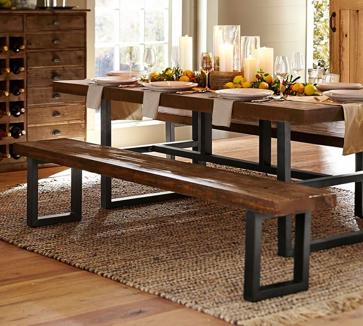 Griffin Reclaimed Wood Dining Table & Bench 3Piece Dining Set Amazing Dining Room Sets Pottery Barn Review