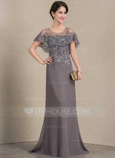 f1eb0abd5054 A-Line Princess Scoop Neck Sweep Train Chiffon Lace Mother of the Bride  Dress (008143373) - JJsHouse