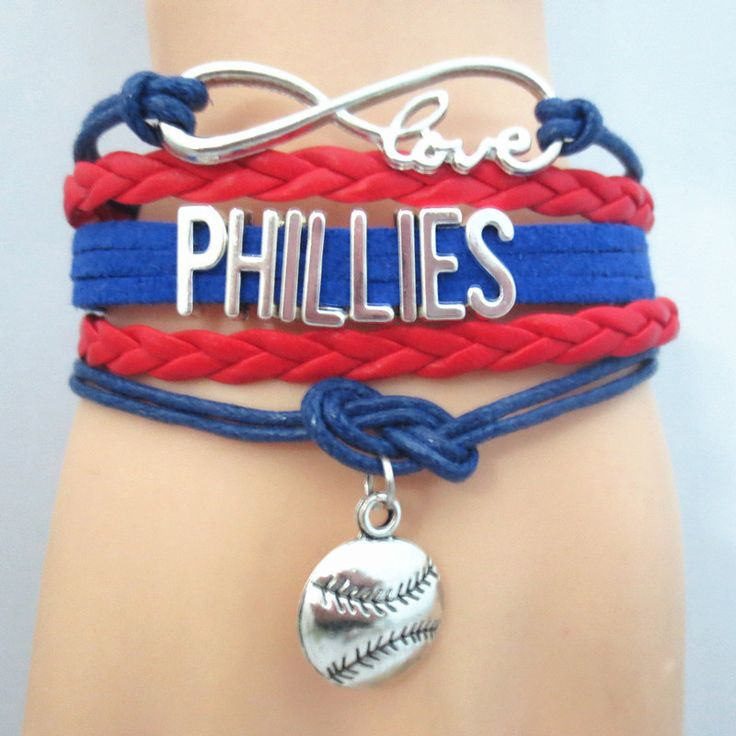 Infinity Love Philadelphia Phillies Baseball - Show off your teams colors! Cutest Love Philadelphia Phillies Bracelet on the Planet! Don't miss our Special Sales Event. Many teams available. www.DilyDalee.co