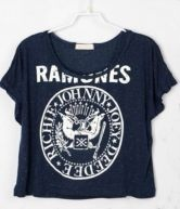 Navy Letters Printed Crop Batwing T Shirt $28.64 #SheInside #Ramones #Hipster #Tumblr #Swag #Band
