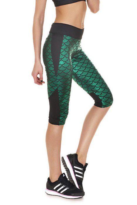 Women's Mermaid Scale Fish Active Capri Leggings Running Yoga Pants Green M