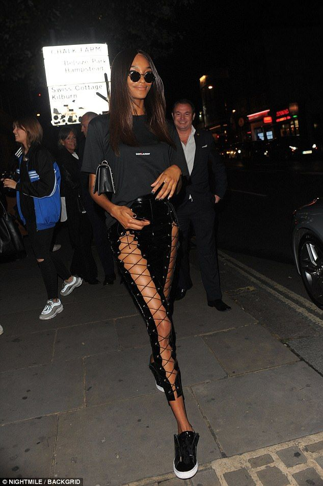 Leggy lady!Jourdan Dunn commanded attention in a pair of eye-catching PVC leggings as she...