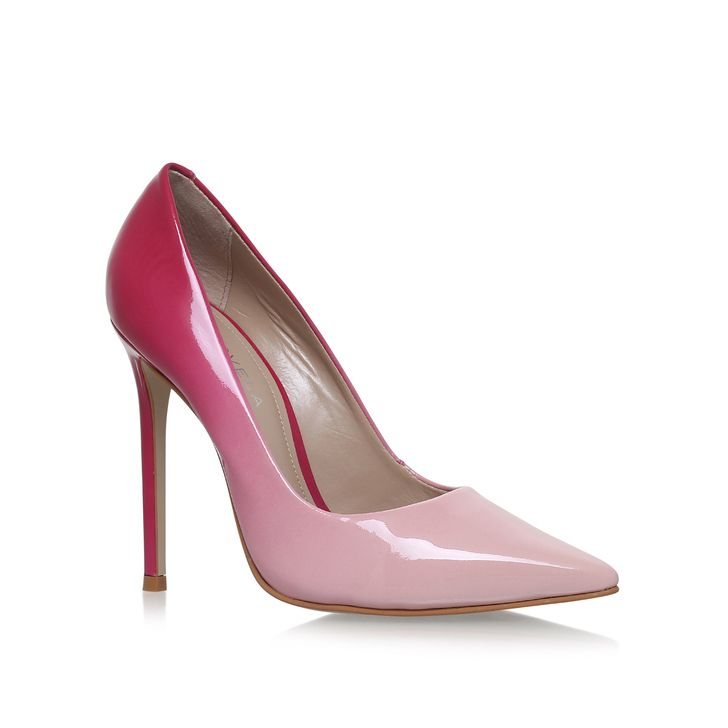Alice White High Heel Court Shoes By Carvela Kurt Geiger | Kurt Geiger  This glossy, streamlined court stands tall on a slim 120mm heel, graduating from cerise to pale pink at the toe. Add a splash of seasonal colour to evening looks with the on-point ombre styling of Alice from Carvela Kurt Geiger.