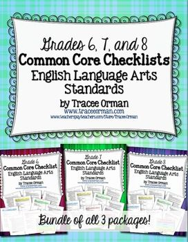 Common Core ELA Standards Checklists Grades 6, 7, 8 - a bundle of three packages in PDF & Word formats at a discounted price.