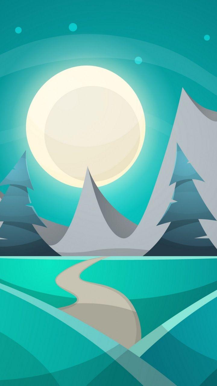 Night Cartoon Illustration Full Moon Landscape 720x1280 Wallpaper Wallpaper Illustration Turquoise Art