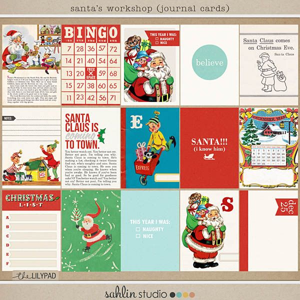 Digital Scrapbook Kit | Santas Workshop   FREEBIES OH MY!!