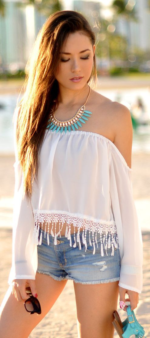 Saboskirt White Fringe Crop Bandeau Top by Hapa Time