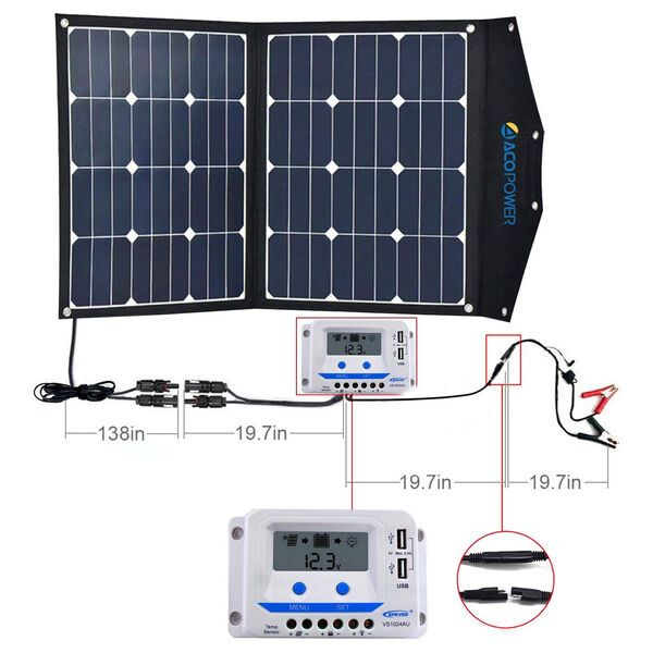 Acopower Ltk 80w Foldable Solar Panel Suitcase With 10a Charge Controller In 2020 Remodeled Campers Camper Makeover Camper Trailer Remodel