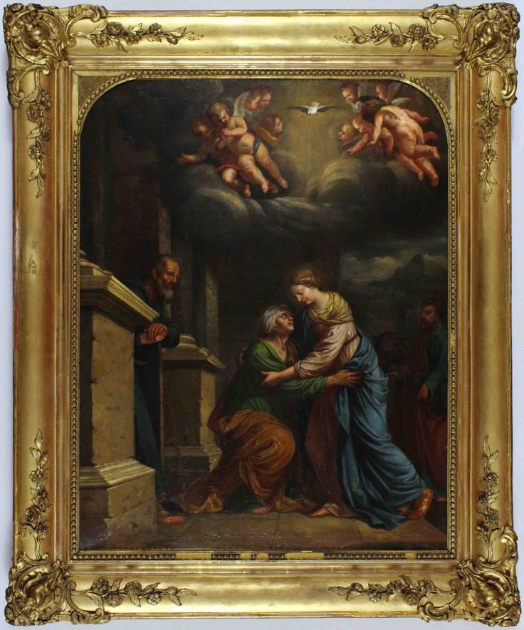 A luminous cloud illuminating this biblical scene. Also, this painting is a tale of two women and their husbands. #family #mary #elizabeth #biblical