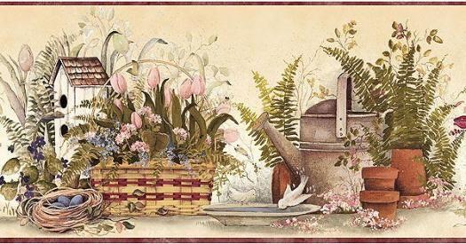 country garden wallpaper borders | Mauve Garden Gifts Wallpaper Border FAM65083B - 4 Left