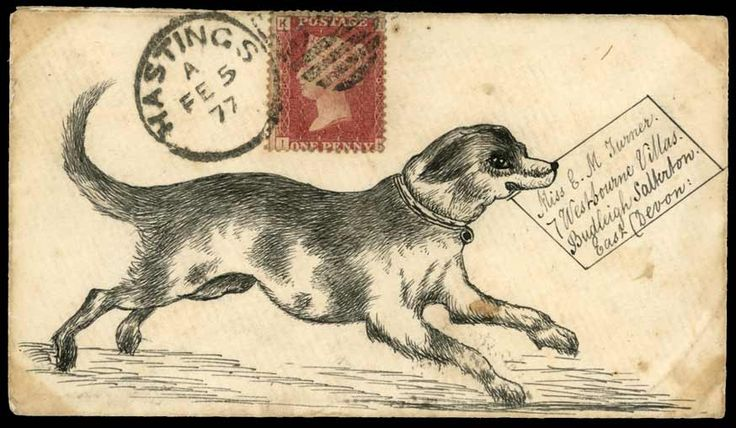 1877 (Feb. 5th) pen and ink illustrated envelope depicting a dog delivering a letter, sent from Hastings to Budleigh Salterton