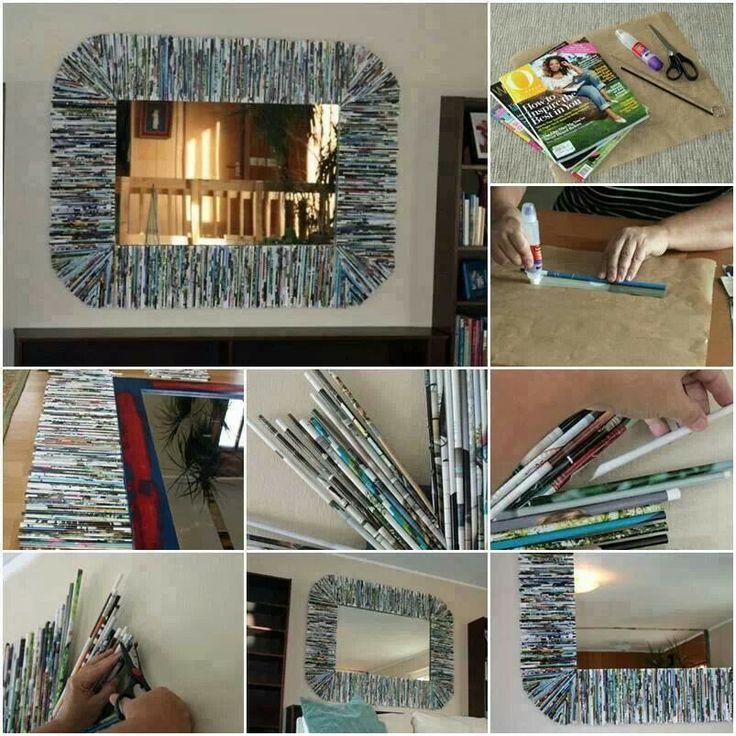 espejo decorado con revistas