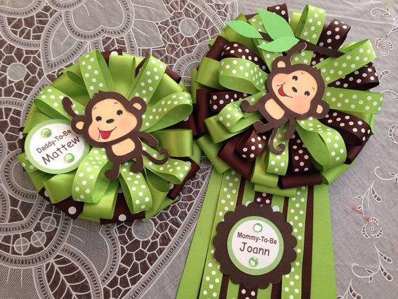 MommyTobe and DaddytoBe Baby Shower Monkey by designsbyemilys